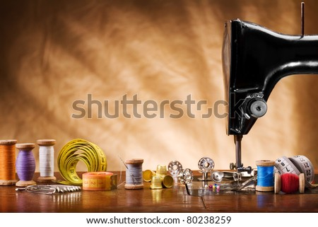 copy space image of sewing tools - stock photo