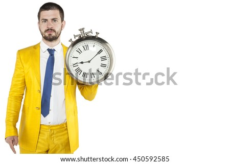copy space next to a businessman with a clock in his hand