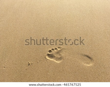 Copy space of footprint on sand beach. Travel concept.