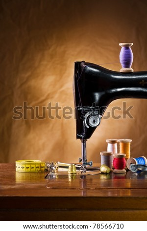 copy space view on the sewing accessories - stock photo