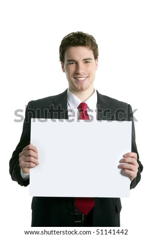 copy space white paper in young handsome businessman smiling - stock photo