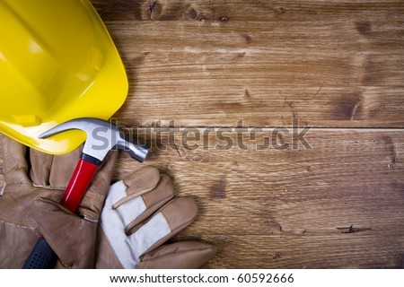 Copy space work tool equipment on wood table - stock photo