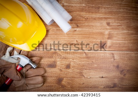 Copy Space Working Tool ( Hammer and glove ) And Bluprint - stock photo