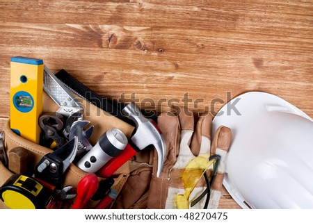Copy space Working Tool On wood background - stock photo