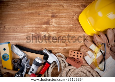 Copy space Working Tool On wood background