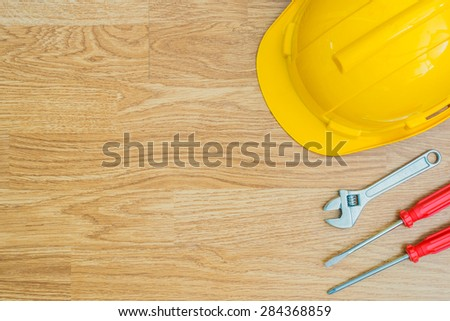 Copy Space Working Tool on wooden background