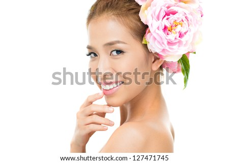 Copy-spaced portrait of a charming young woman captured from the side - stock photo