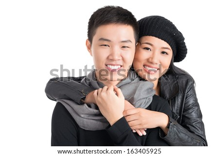 Copy-spaced portrait of a young happy couple bonding over a white background - stock photo