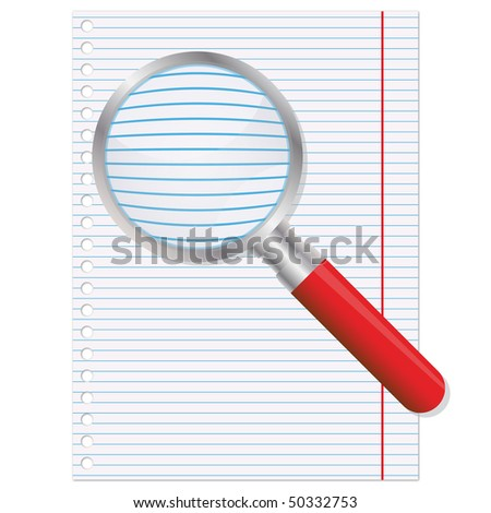 Copybook page and magnifier - stock photo