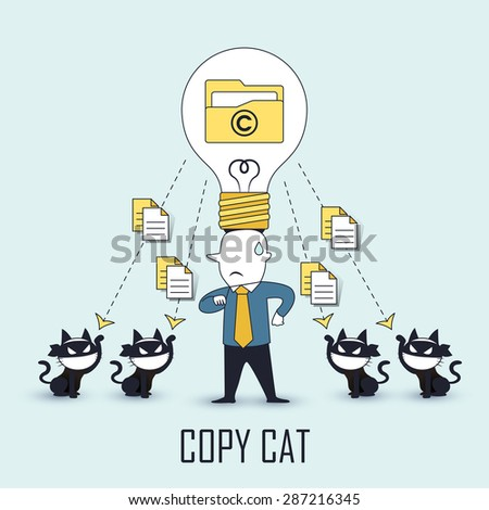 copycat concept: data be stolen by others in line style - stock photo
