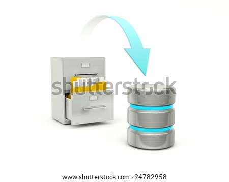 Copying files from archive to data base - stock photo