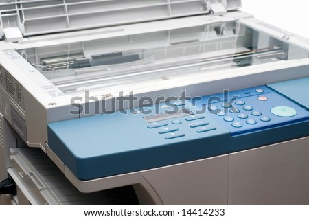 Copying machine with opened cover - stock photo