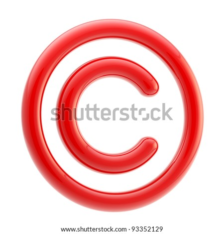 Copyright alert: red glossy copyright symbol isolated on white