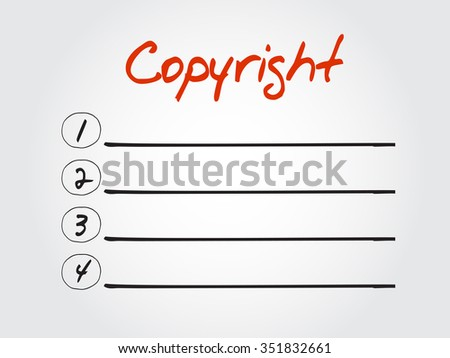 Copyright blank list, business concept background - stock photo