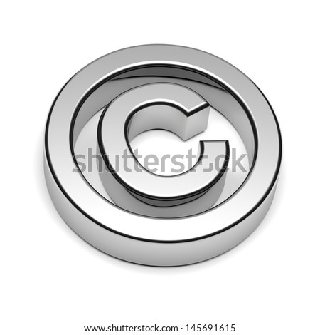 Copyright Chrome Sign Isolated on White Background with Shadow 3D illustration - stock photo