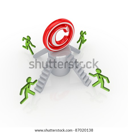 Copyright concept..Isolated on white background.3d rendered. - stock photo