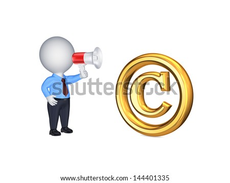 Copyright concept.Isolated on white.3d rendered. - stock photo