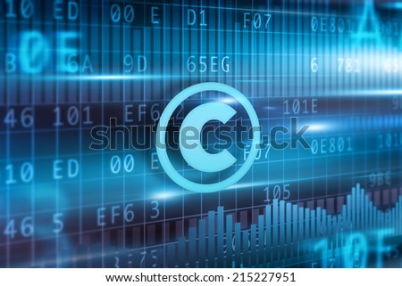 Copyright concept with blue background blue icon - stock photo