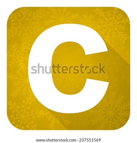 copyright flat icon, gold christmas button  - stock photo