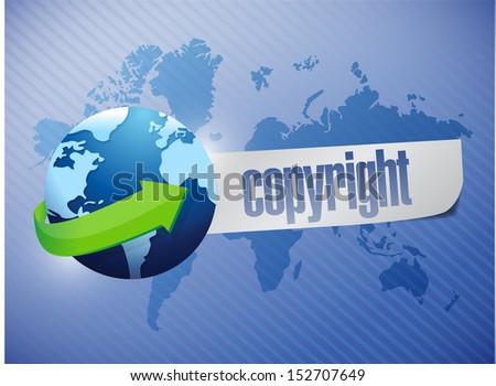 copyright globe concept illustration design over a world map background - stock photo