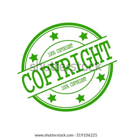 copyright green stamp text on green circle on a white background and star