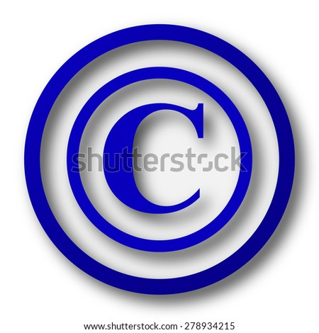 Copyright icon. Blue internet button on white background.  - stock photo