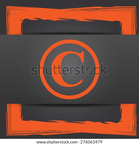 Copyright icon. Internet button on grey background.  - stock photo