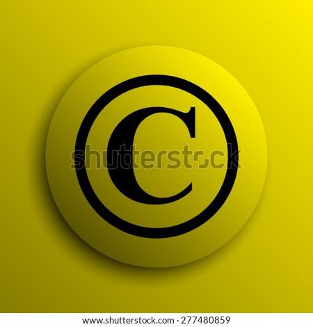 Copyright icon. Yellow internet button.  - stock photo