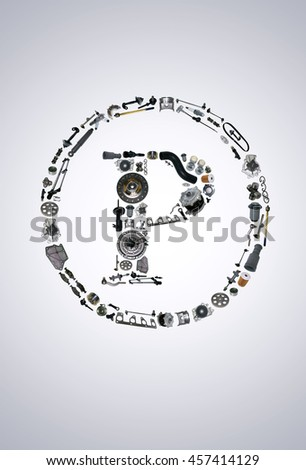 Copyright icone with auto parts for car. Spare parts for car for shop, aftermarket OEM. Many auto parts isolated in copyright icone - stock photo
