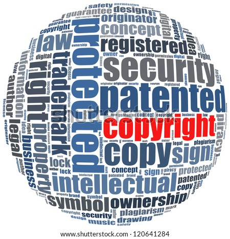 copyright in word collage concept