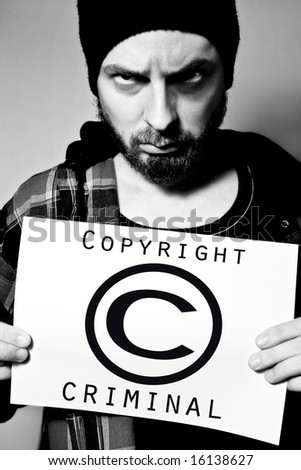 Copyright Infringement. Arrested for Breaking the Law - stock photo