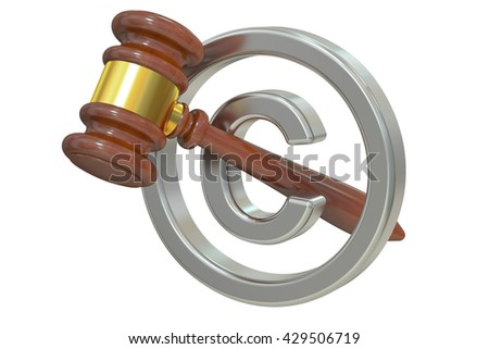 Copyright laws and intellectual property legal protection, 3D rendering  - stock photo