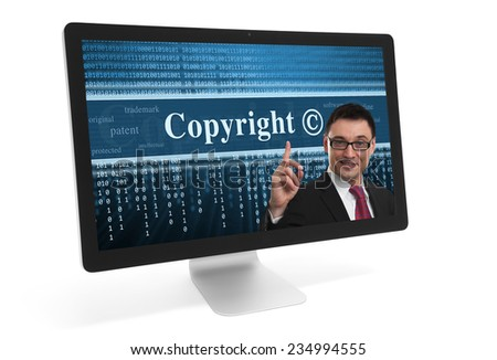 copyright message on a screen of computer monitor - stock photo