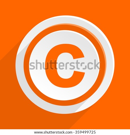 copyright orange flat design modern icon for web and mobile app