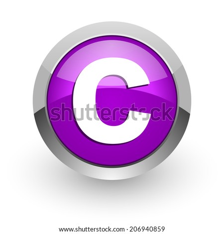 copyright pink glossy web icon