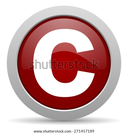 copyright red glossy web icon  - stock photo