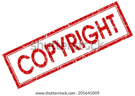Copyright red square grungy stamp isolated on white background - stock photo