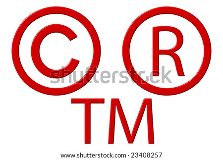 Copyright registered and trademark symbols isolated over white