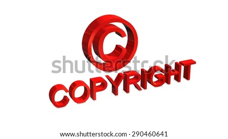 Copyright sign and lettering isolated on white background - stock photo