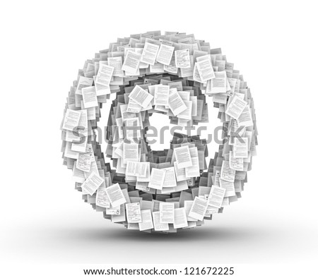 Copyright sign , from thousands of documents font - stock photo