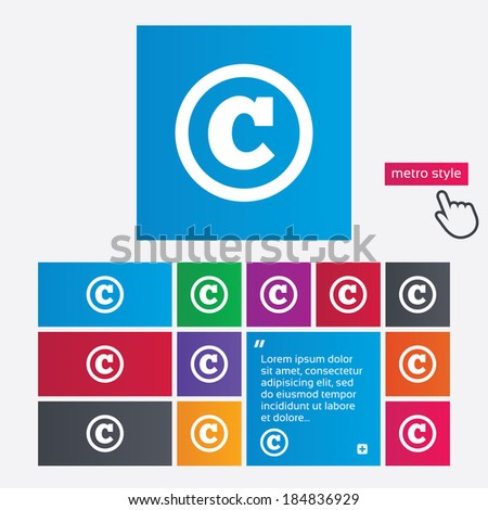Copyright sign icon. Copyright button. Metro style buttons. Modern interface website buttons with hand cursor pointer. - stock photo