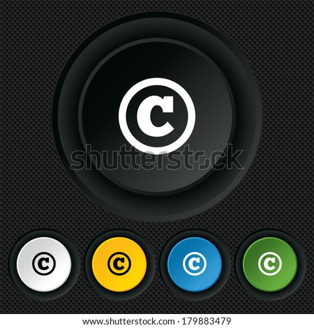 Copyright sign icon. Copyright button. Round colourful buttons on black texture. - stock photo