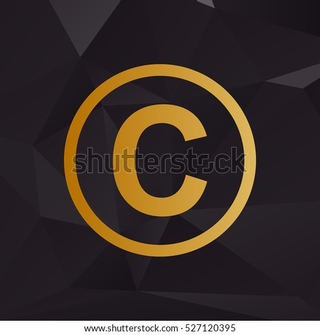 Copyright sign illustration. Golden style on background with polygons.