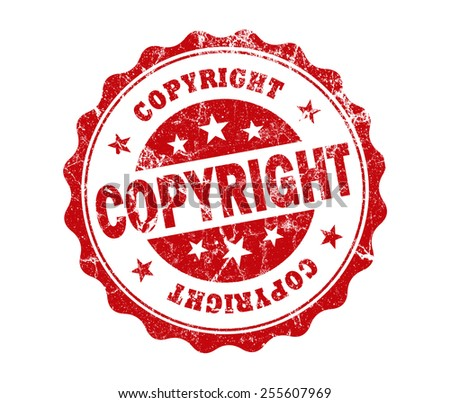 copyright stamp on white background - stock photo
