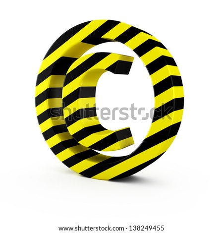 Copyright symbol by black-yellow warning strips on white - stock photo