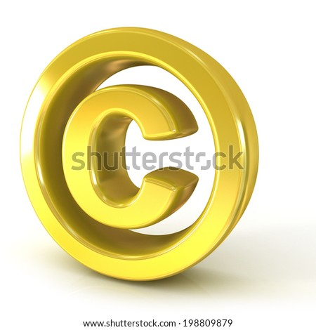 Copyright symbol 3d golden isolated on white background - stock photo