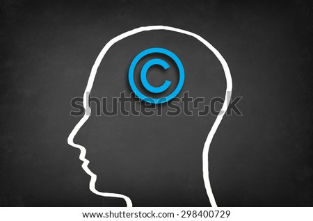 Copyright symbol in head. Copyright concept. - stock photo