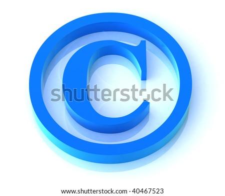 copyright symbol isolated on white - stock photo