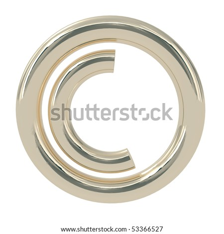 Copyright Symbol isolated on white - 3d illustration