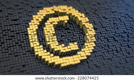 Copyright symbol of the yellow square pixels on a black matrix background. Author rights concept. - stock photo